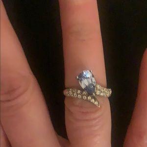 Diamonique Faux Blue Topaz, CZ and Silver Ring